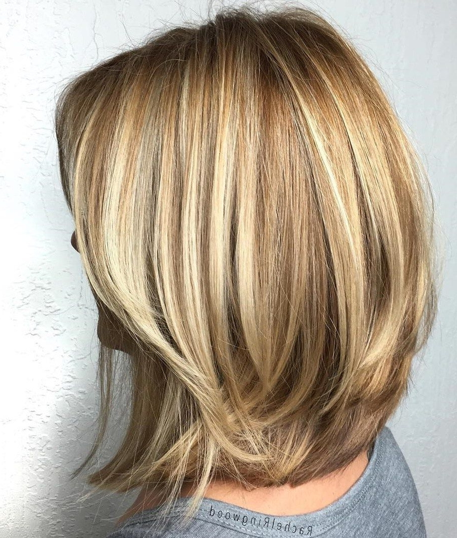 Trendy Volumized Caramel Blonde Lob Hairstyles With Regard To 70 Brightest Medium Layered Haircuts To Light You Up (View 20 of 20)