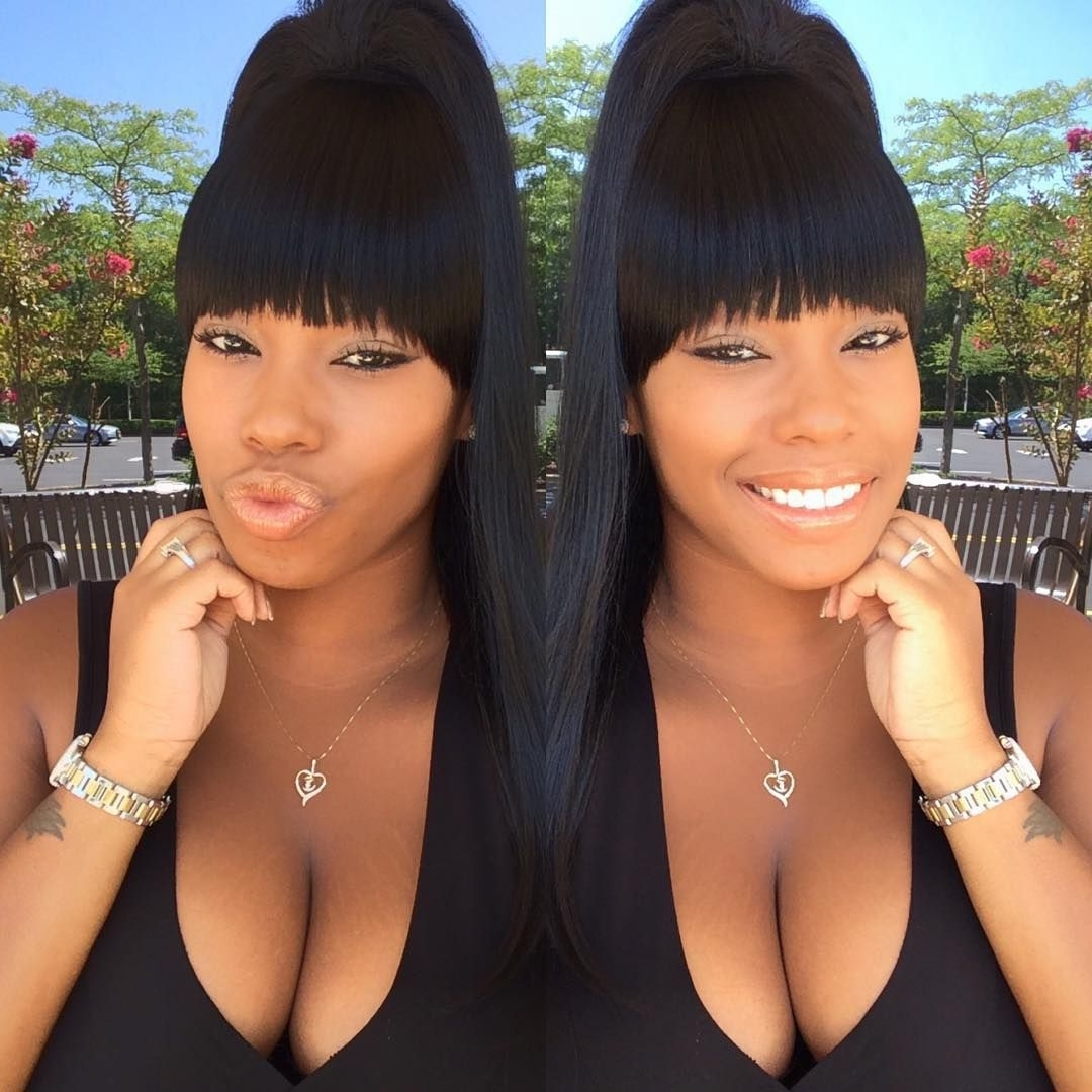 Twinning ??? #icouldntchoose#twinning#smile#smiles#white#teeth Regarding Well Known Minaj Pony Hairstyles With Arched Bangs (View 19 of 20)