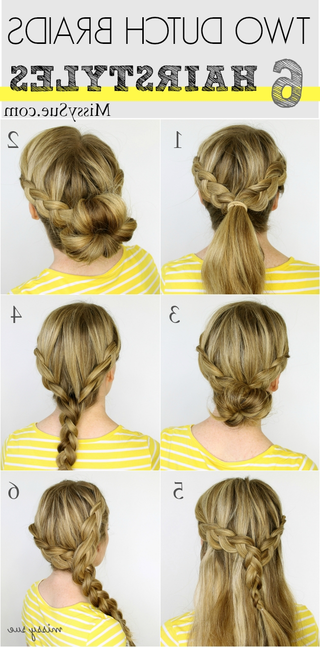 Two Dutch Braids 6 Hairstyles In Most Current Ponytail Hairstyles With Dutch Braid (View 10 of 20)