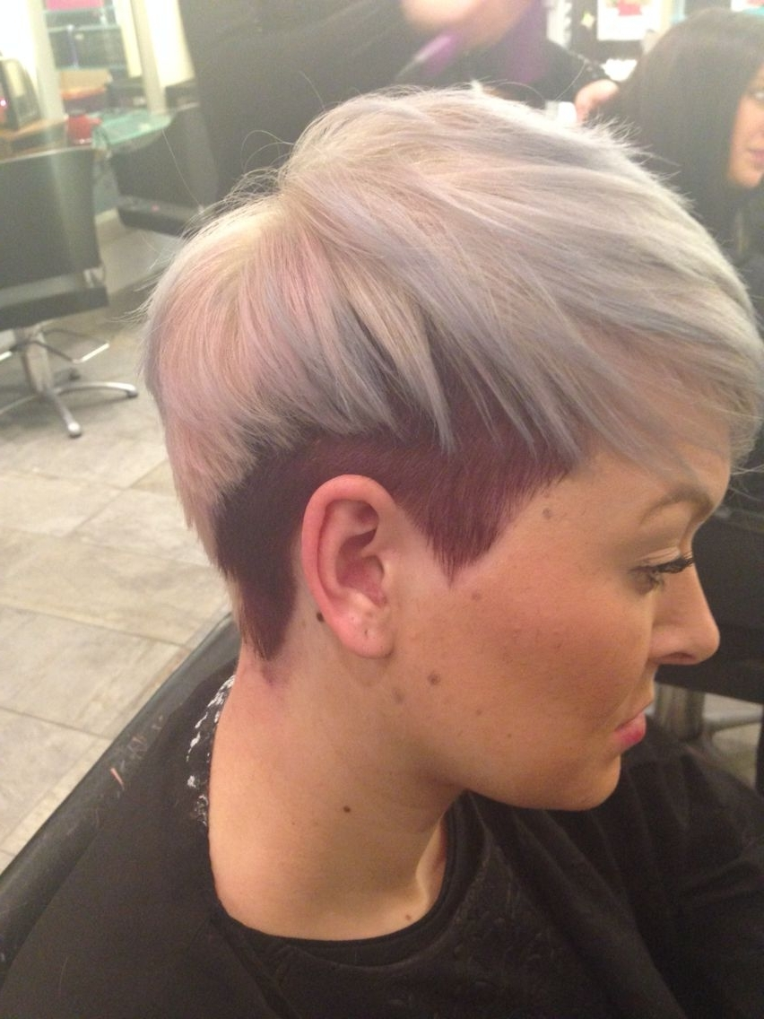 Undercut Platinum Pixie. Not Crazy About The Dark Underneath Throughout Recent Platinum And Purple Pixie Blonde Hairstyles (Gallery 10 of 20)