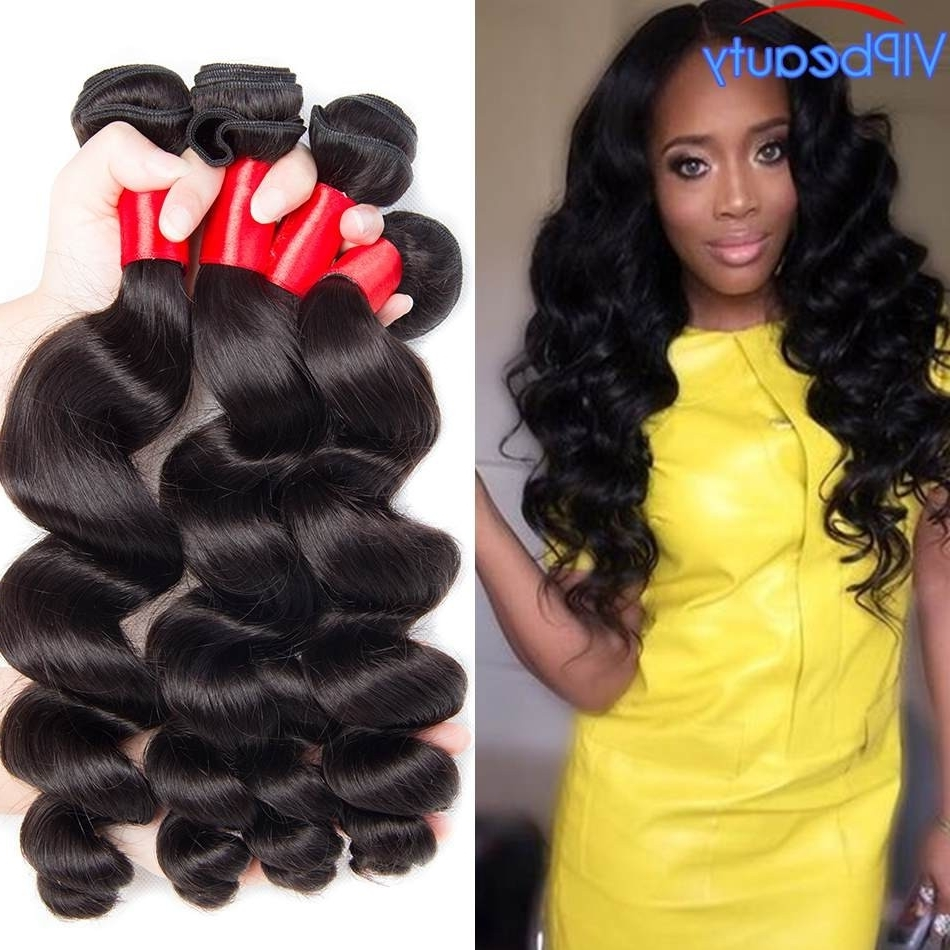 Vipbeauty Peruvian Virgin Hair Loose Wave 3 Bundles Natural Color 1B Regarding 2018 Natural Color Waves Hairstyles (Gallery 16 of 20)