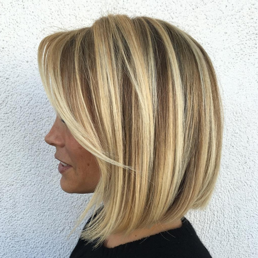 Well Known Caramel Blonde Lob With Bangs Within 70 Winning Looks With Bob Haircuts For Fine Hair (View 6 of 20)
