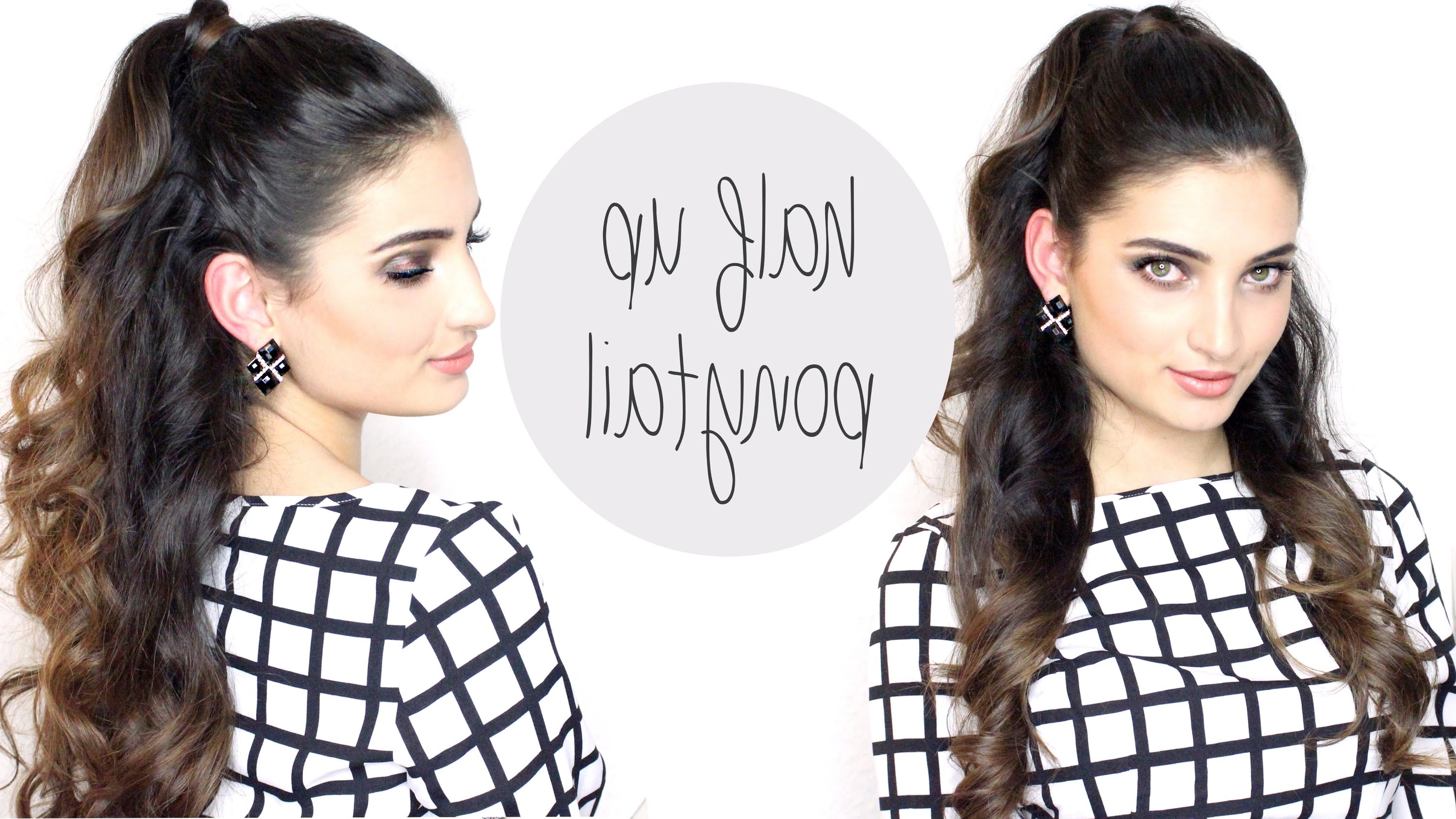 Well Known Half Up Curly Look Pony Hairstyles Pertaining To Hair Tutorial: Ariana Grande Big Half Up Ponytail – Youtube (View 15 of 20)