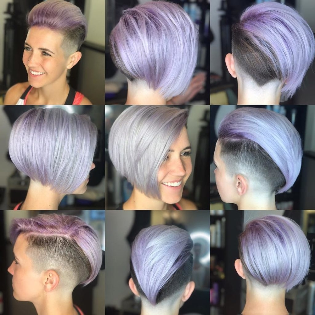 Well Known Lavender Pixie Bob Hairstyles For Women's Short Sleek Edgy Undercut Bob On Purple Faded Hair (View 12 of 20)