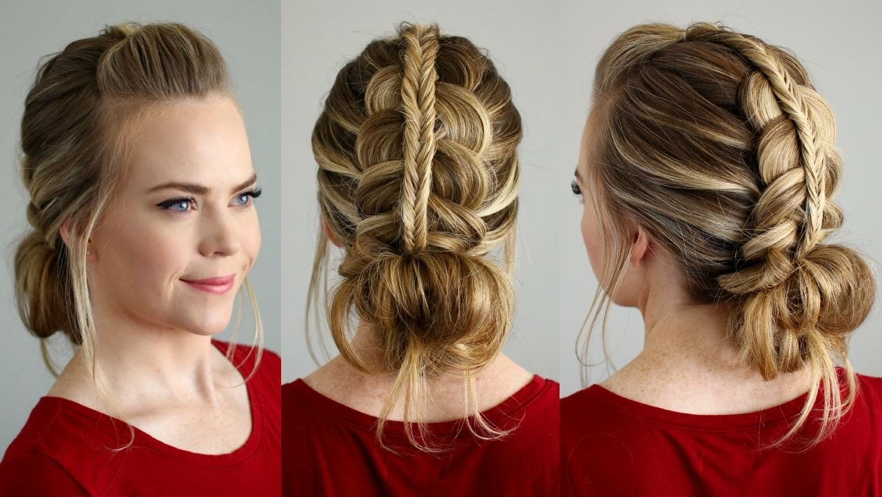 Well Known Messy Ponytail Hairstyles With Side Dutch Braid Within Stacked Fishtail + Dutch Braid Messy Bun (View 17 of 20)