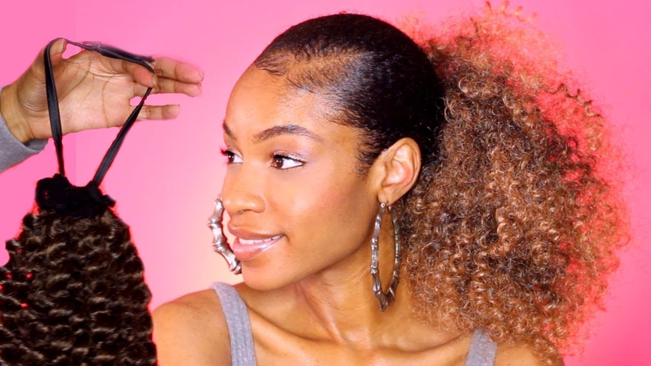 Well Known Ombre Curly Ponytail Hairstyles Throughout Diy $10 Drawstring Ponytail For Natural Hair – Youtube (View 18 of 20)