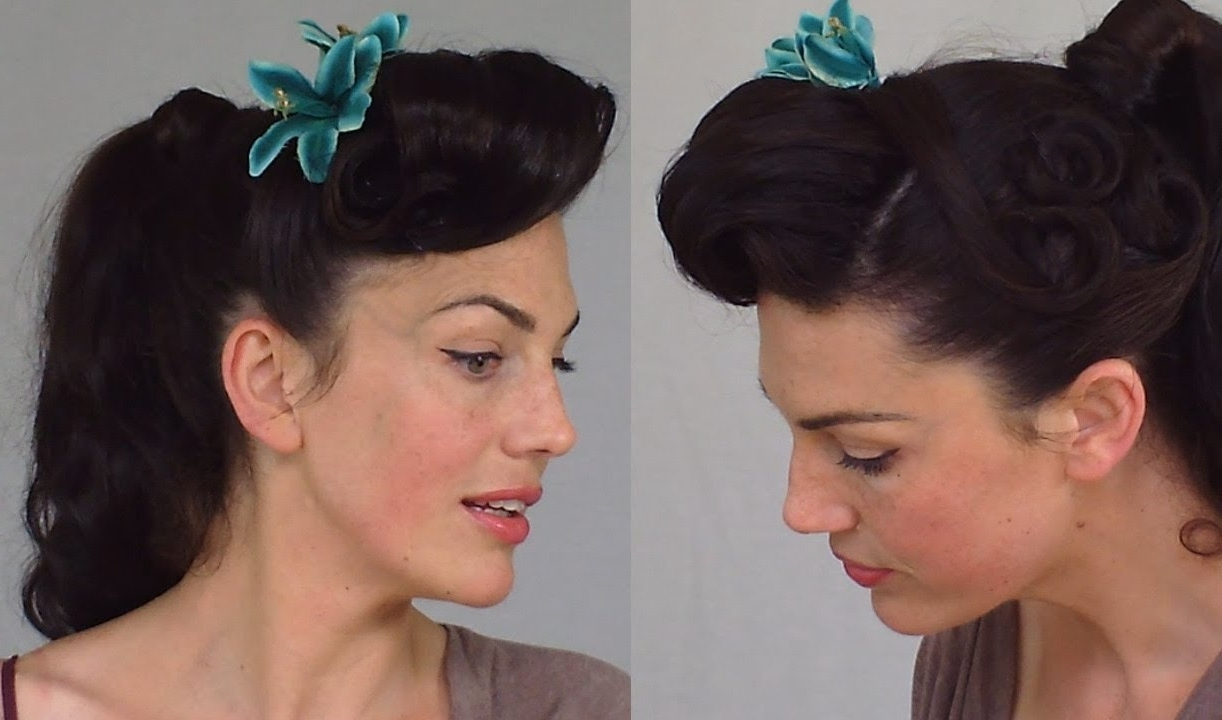 Well Known Retro Glam Ponytail Hairstyles Throughout Pin Up Ponytail – Easy & Practical Vintage Hairstyle – Youtube (View 19 of 20)
