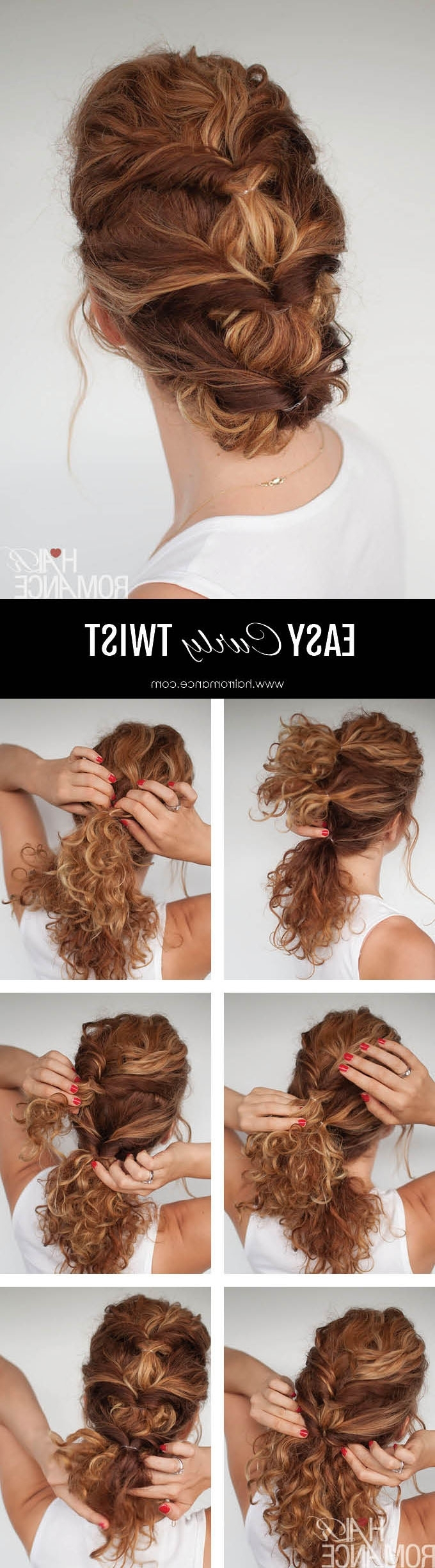 Well Known Romantic Twisted Hairdo Hairstyles Throughout Easy Everyday Curly Hairstyle Tutorial – The Curly Twist (View 2 of 20)