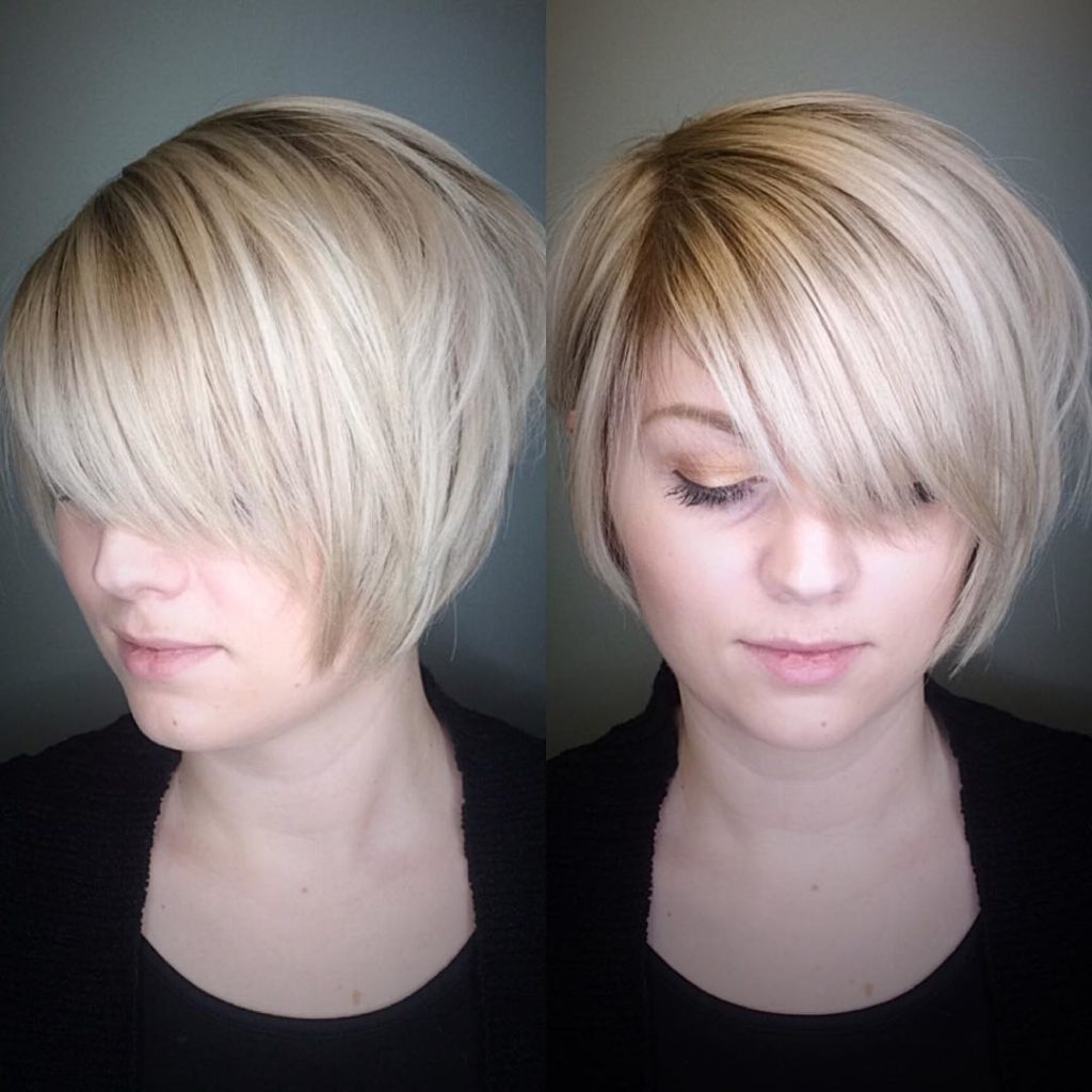 Well Known Stacked Pixie Bob Hairstyles With Long Bangs Within Women's Polished Blonde Stacked Bob With Side Swept Bangs And Soft (View 20 of 20)