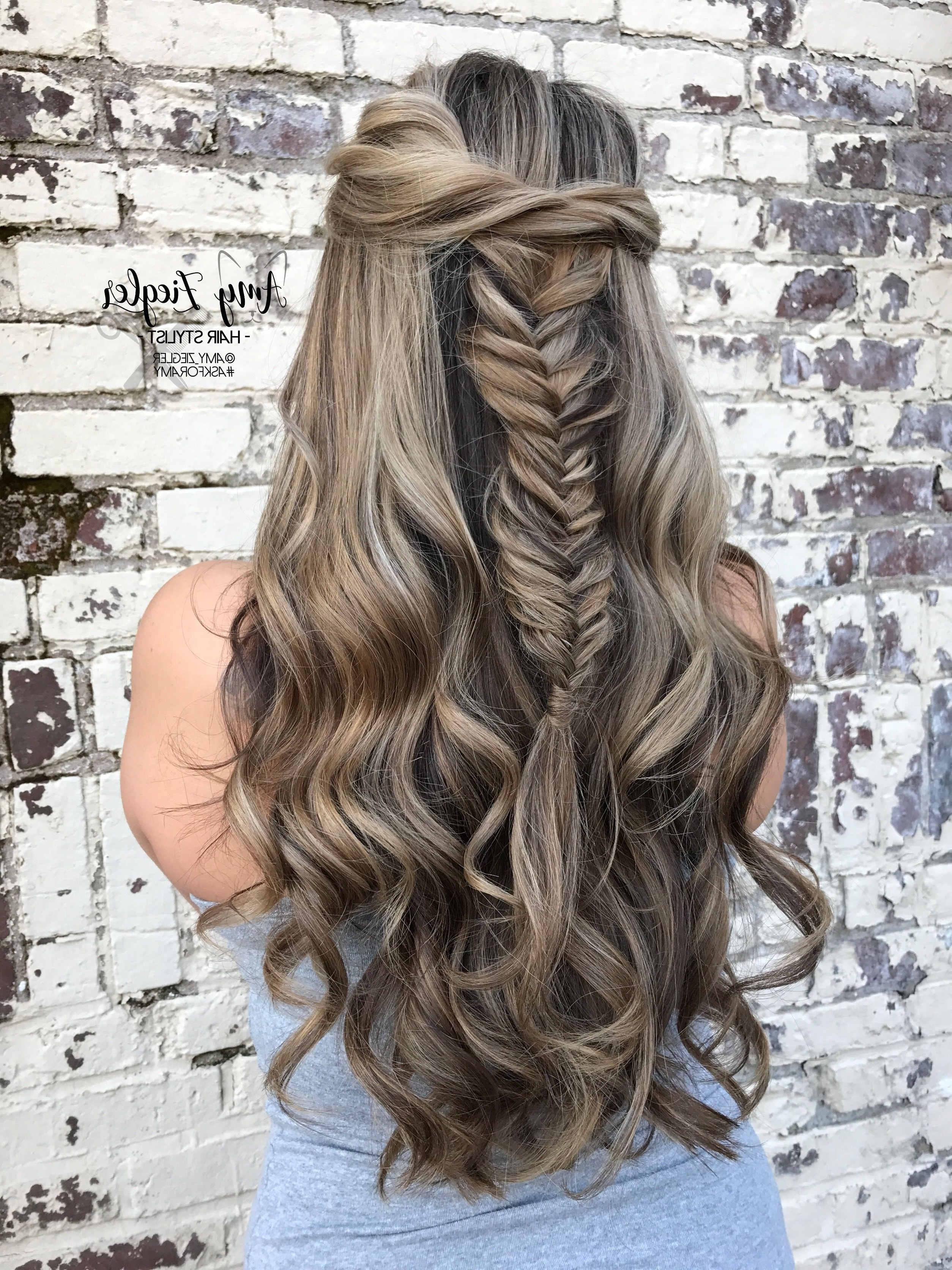 Well Known Wispy Fishtail Hairstyles Throughout Blonde Highlight Lowlight Long Hair With Wispy Fishtail Braid (View 19 of 20)