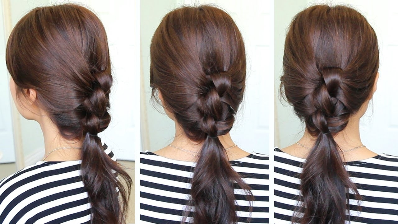 Well Liked Braided And Knotted Ponytail Hairstyles Regarding 2 Min Knotted Ponytail Hairstyle (View 20 of 20)