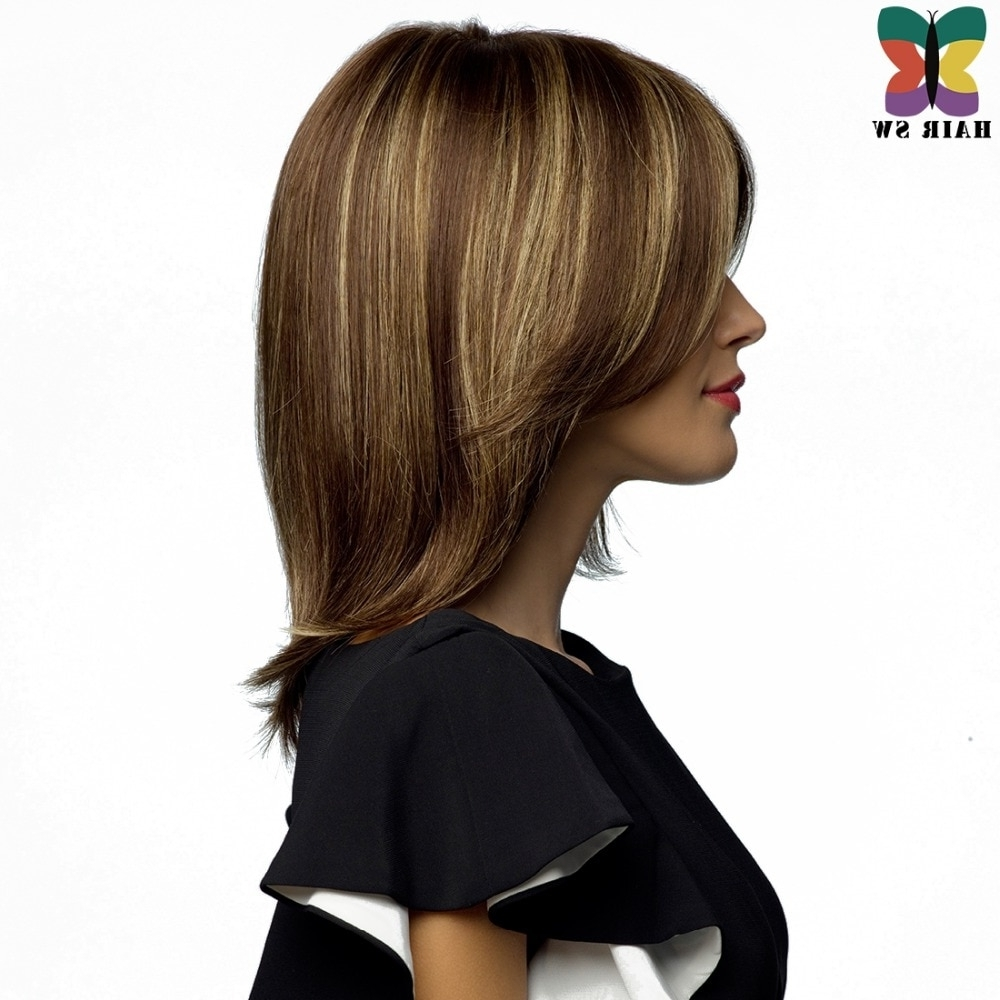 Well Liked Brown Blonde Layers Hairstyles Within Online Shop Hair Sw Medium Length Straight Bob Wig Brown Hair Blonde (View 19 of 20)