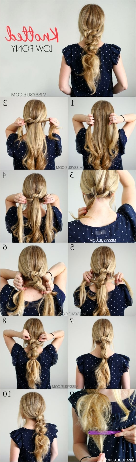 Well Liked Knotted Ponytail Hairstyles For Knotted Low Pony Hairstyle (View 12 of 20)