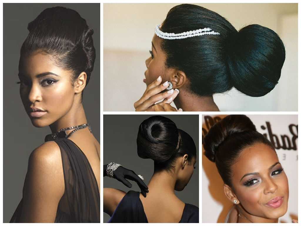 Well Liked Low Black Ponytail Hairstyles With Bangs Within Popular Wedding Hairstyle Ideas For Black Women – Hair World Magazine (View 14 of 20)
