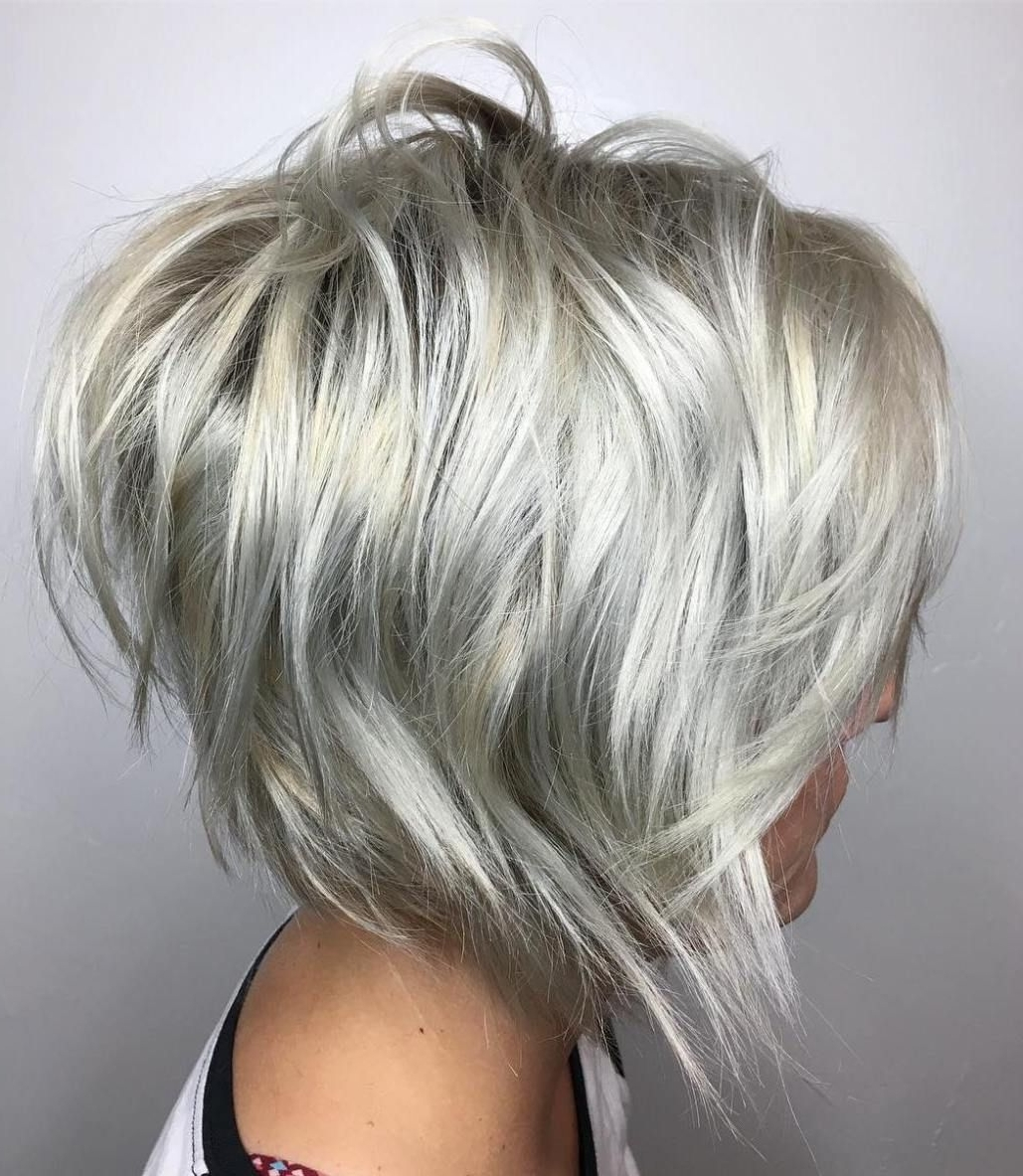 Well Liked Platinum Blonde Bob Hairstyles With Exposed Roots Regarding 60 Overwhelming Ideas For Short Choppy Haircuts (View 18 of 20)