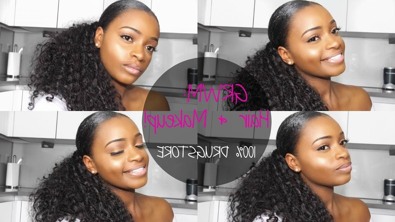 Well Liked Sleek Ponytail Hairstyles With Waves Pertaining To Grwm: Sleek Ponytail On Natural Hair & Drugstore Simple Neutral (View 20 of 20)
