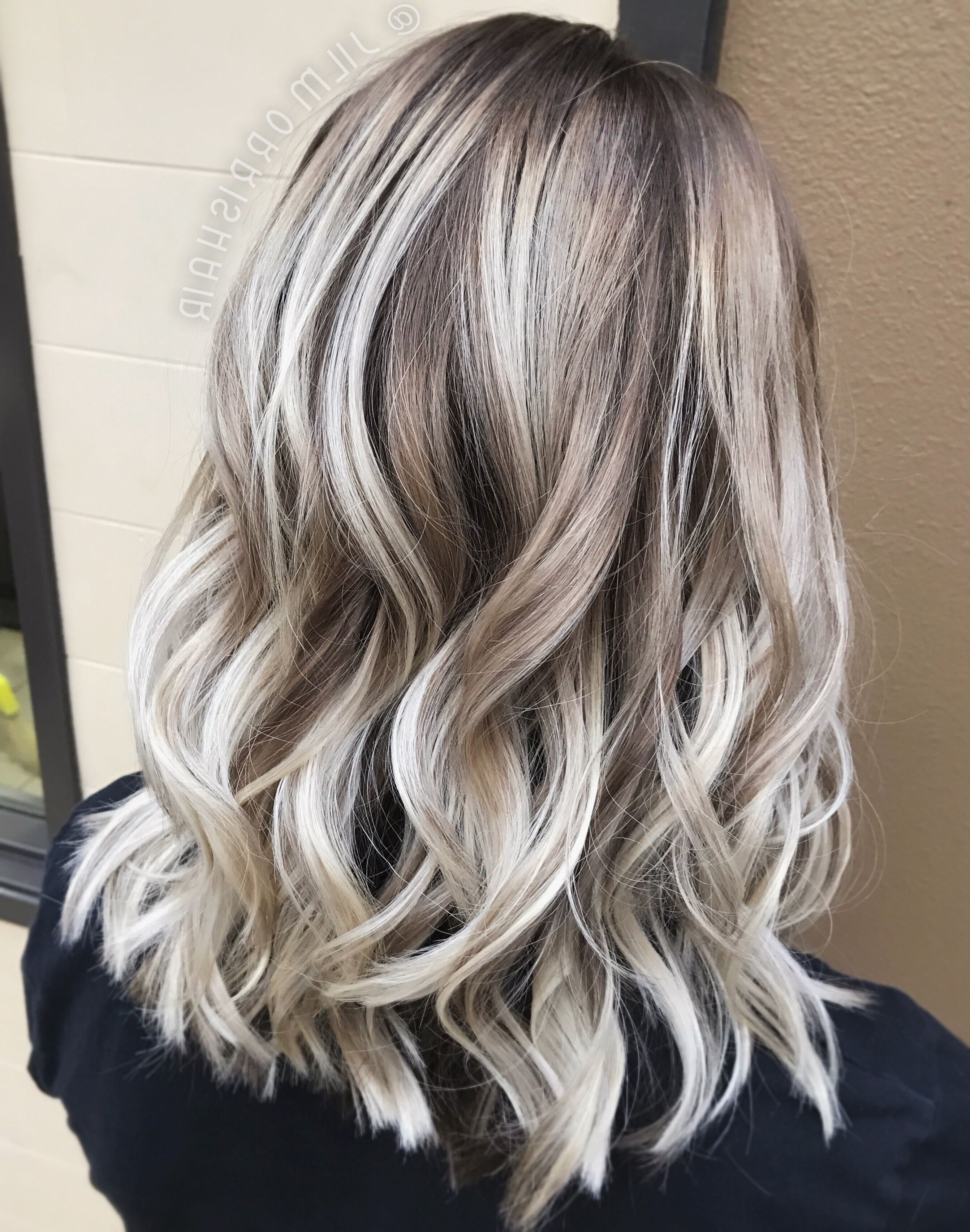 White Ash Blonde Balayage, Shadow Root, Curls In A Textured Lob Pertaining To 2017 Long Blond Ponytail Hairstyles With Bump And Sparkling Clip (View 14 of 20)