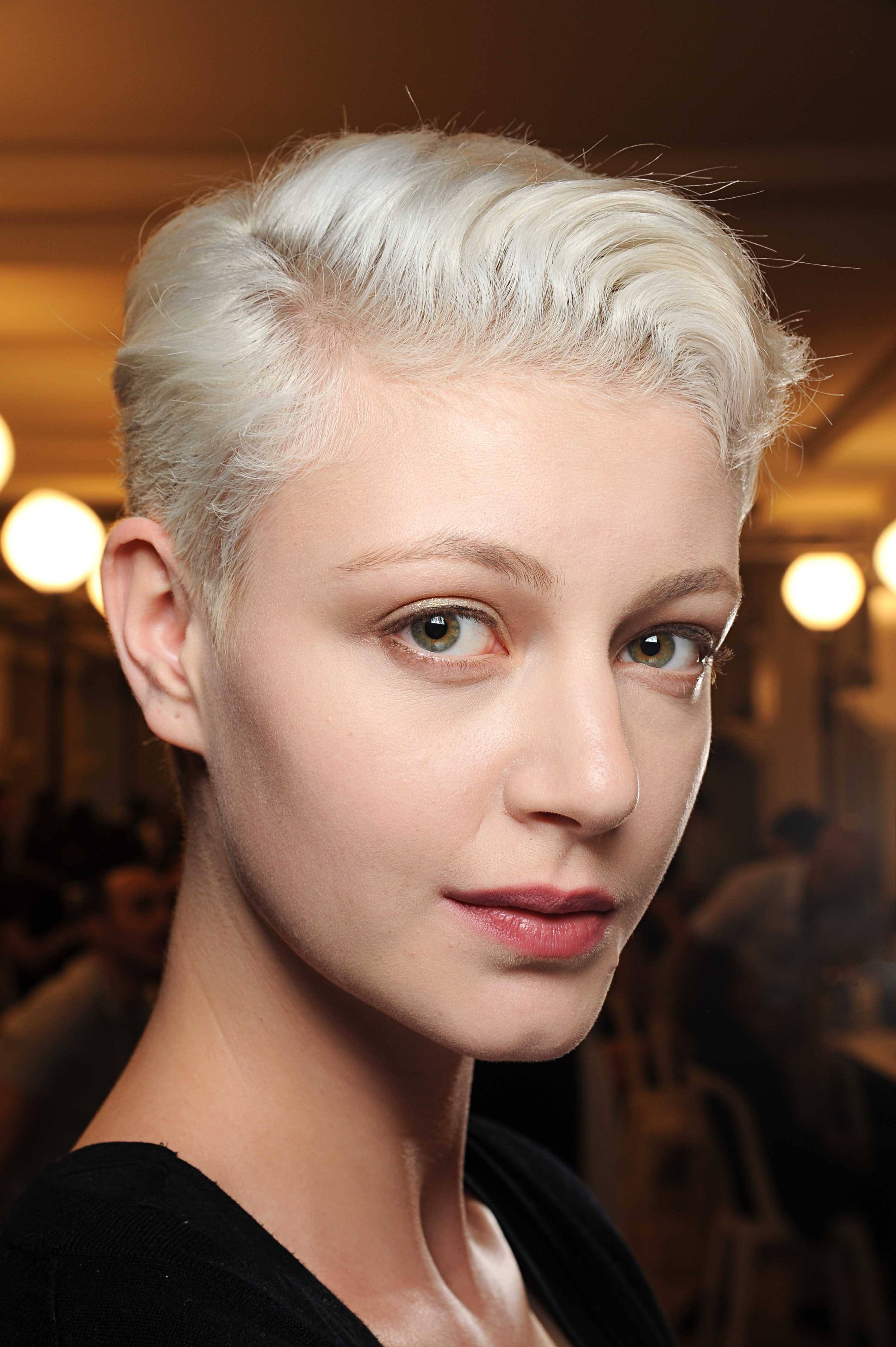 White Bleach Blonde Hair Short Pixie Armani Prive Aw Indigital Pertaining To Favorite Bleach Blonde Pixie Hairstyles (View 16 of 20)