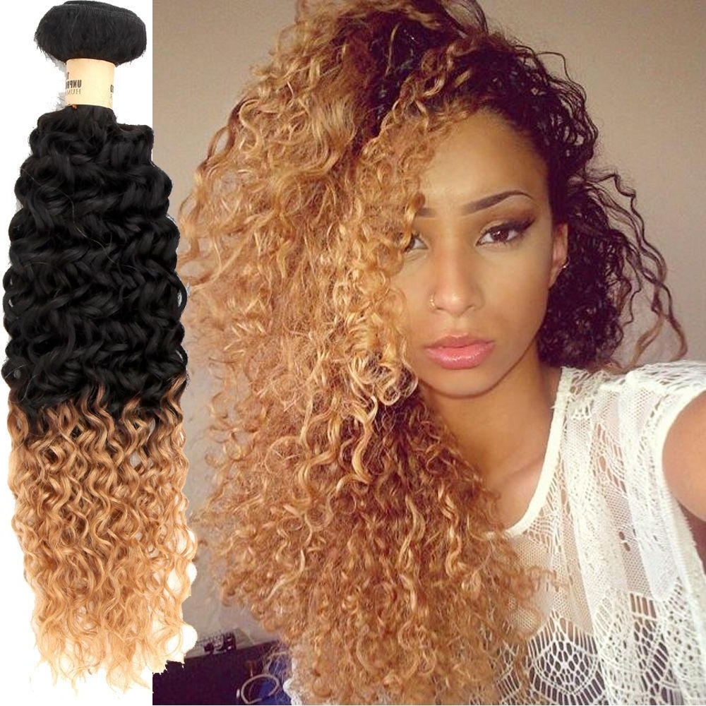 Widely Used Brown To Blonde Ombre Curls Hairstyles In Perruque 1B#27 Blonde Peruvian Hair Weave Curly Ombre Peruvian Afro (View 20 of 20)