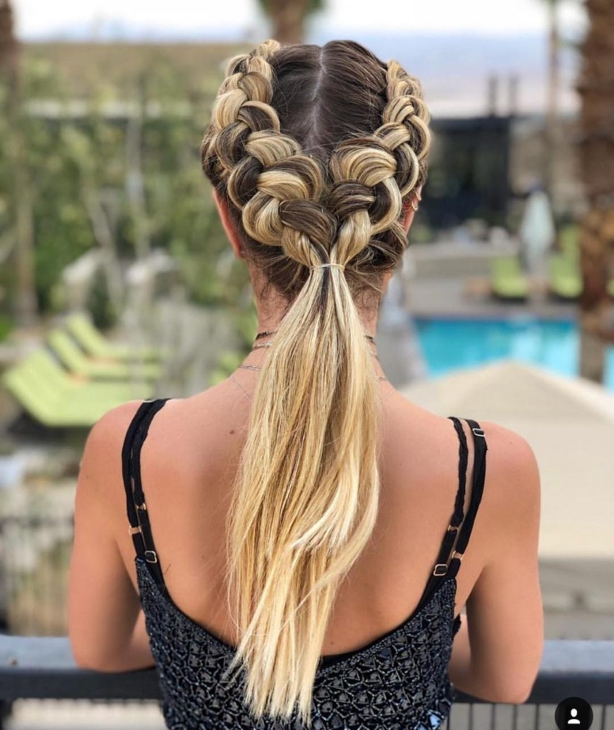Widely Used Dutch Braid Pony Hairstyles Regarding Women's Bohemian Double Dutch Braided Ponytail With Blonde Balayage (View 14 of 20)