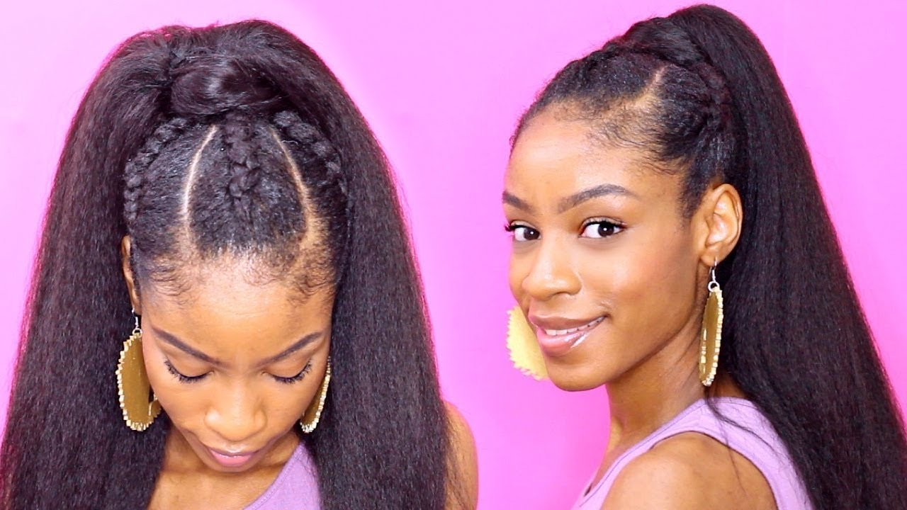 Widely Used High Ponytail Hairstyles With Jumbo Cornrows Throughout Easy Cornrows Ponytail▻ Natural Hair Protective Styles – Youtube (View 3 of 20)