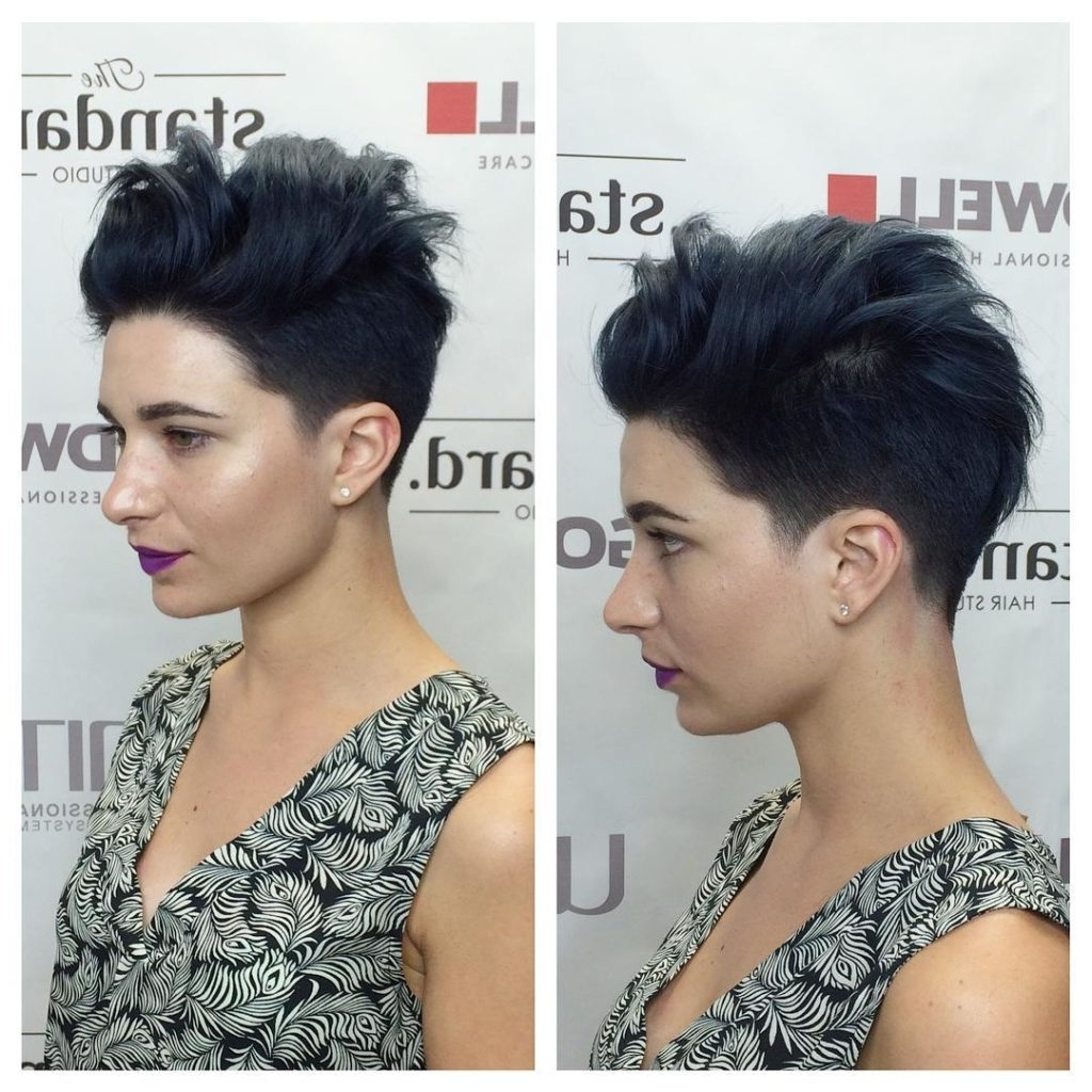Widely Used Long Voluminous Pixie Hairstyles Regarding Women's Sexy Black Ombre Pixie With Silver Tips And Messy Voluminous (View 19 of 20)