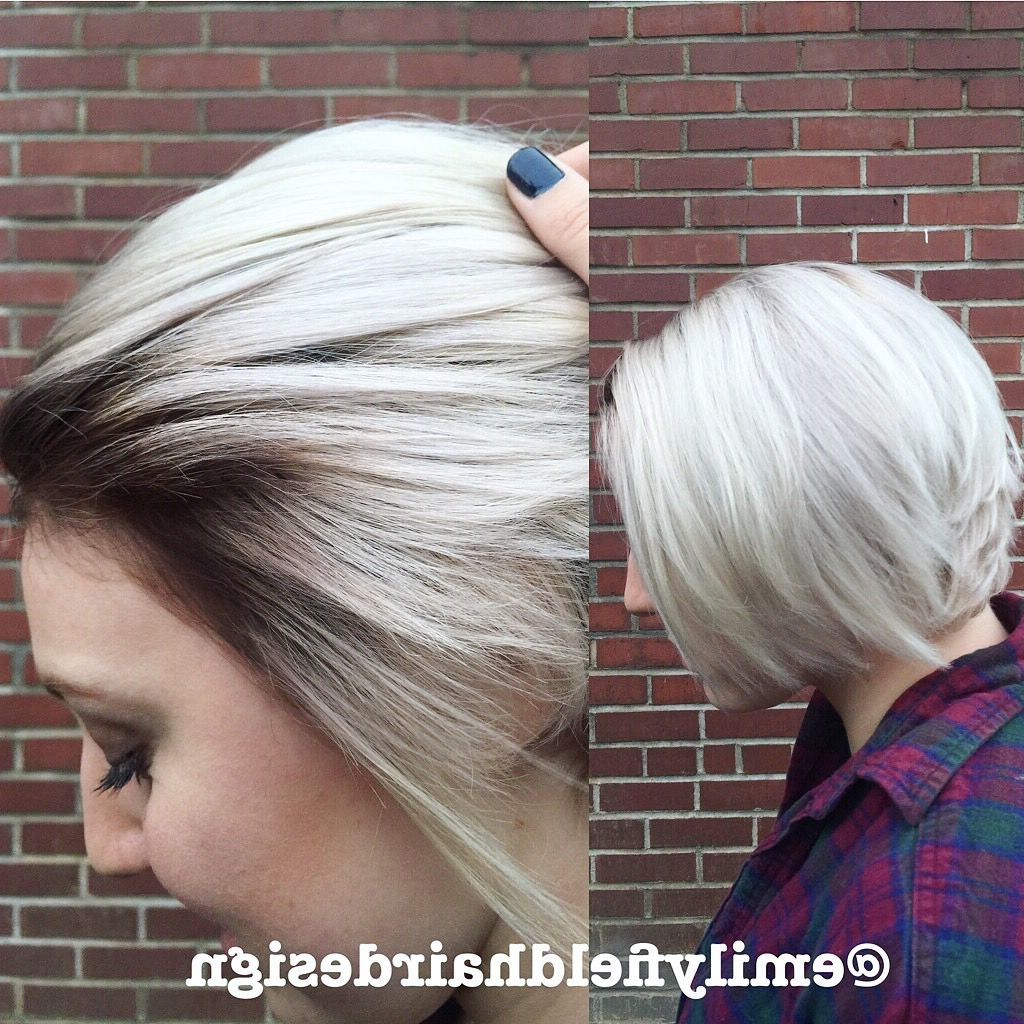 Widely Used Platinum Blonde Hairstyles With Darkening At The Roots Pertaining To Marvelous Icy Blonde Platinum Short Hair Pretty With Dark Roots (View 19 of 20)