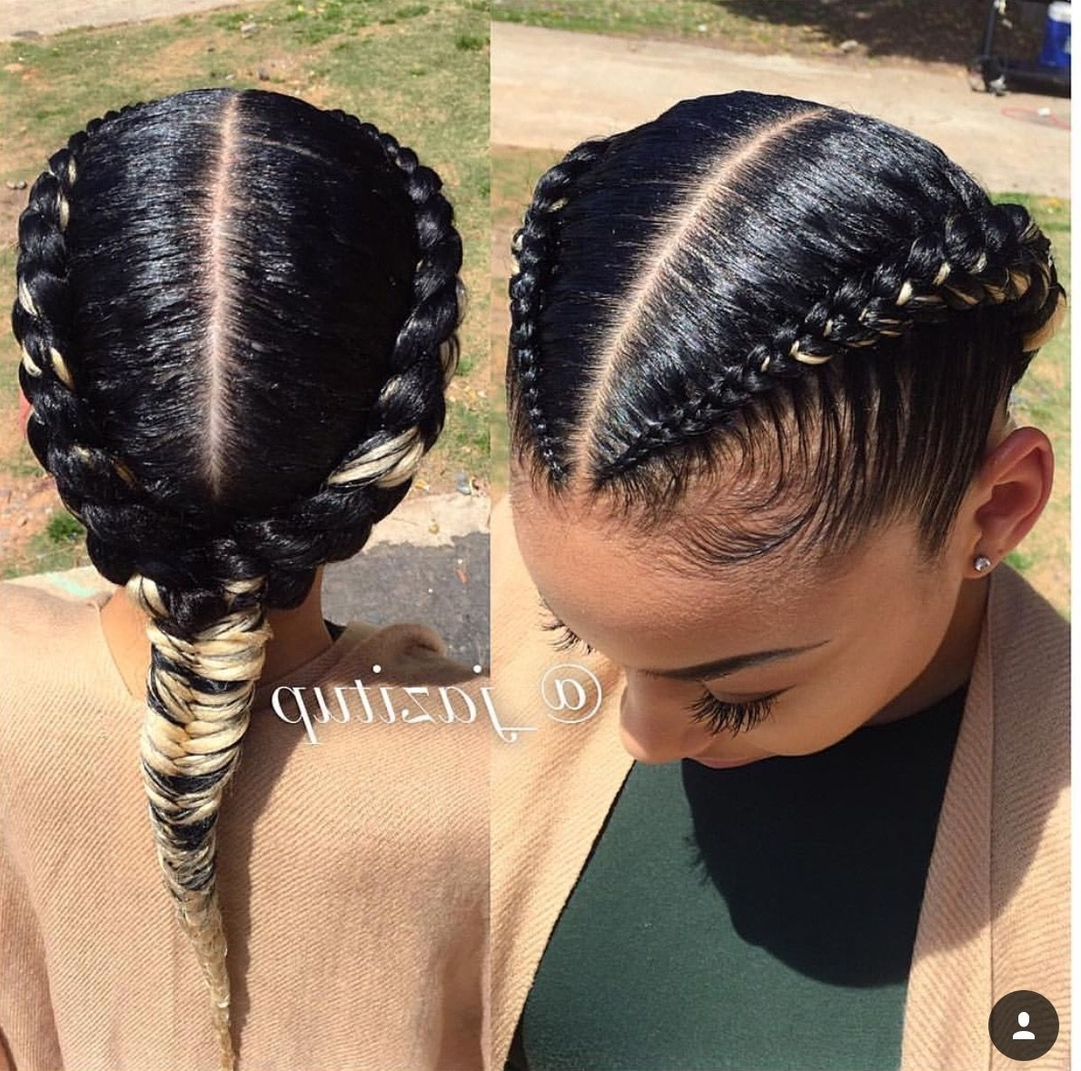 Widely Used Rockstar Fishtail Hairstyles Pertaining To Two Goddess Braids With Fishtail (View 5 of 20)