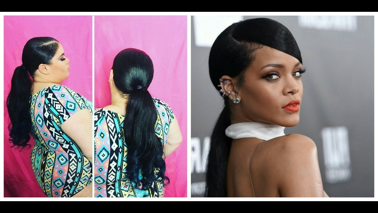 Widely Used Side Pony Hairstyles With Swooping Bangs With Rihanna Inspired Side Part Sleek Swoop Low Ponytail Ft (View 20 of 20)
