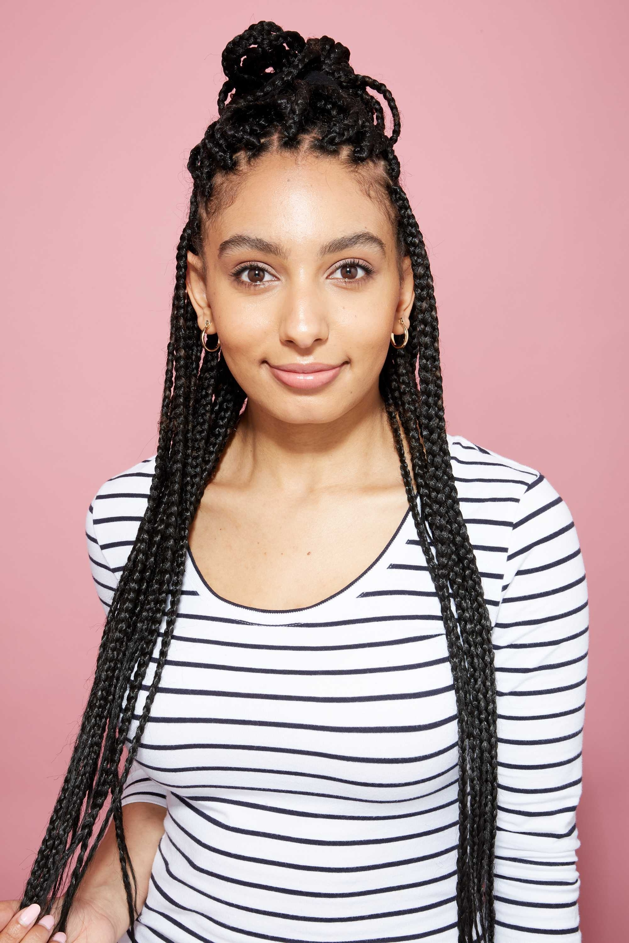 Widely Used Sky High Pompadour Braid Pony Hairstyles Throughout 17 Flawless & Fashionable Ways To Style Long Box Braids (View 14 of 20)
