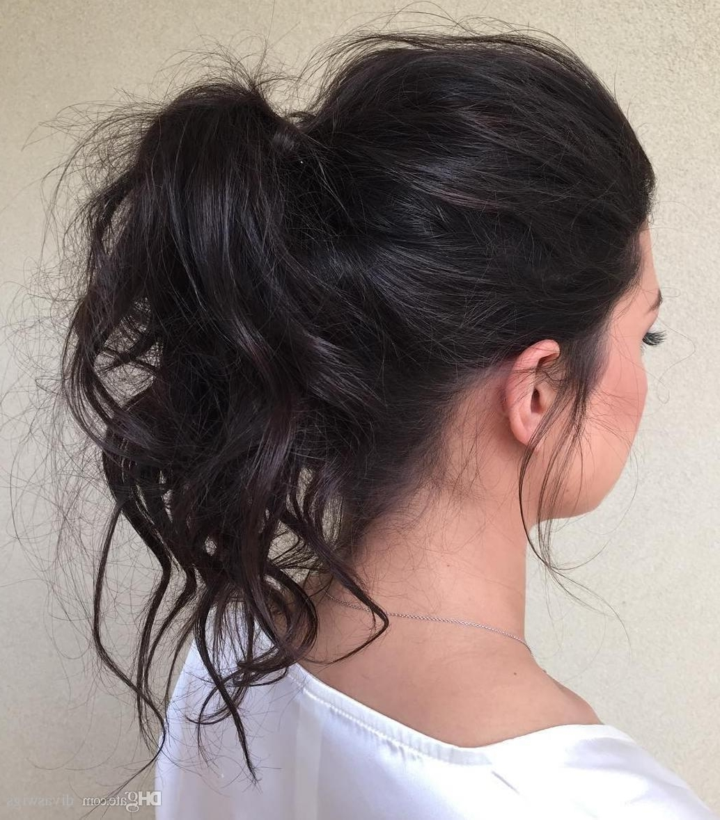 Woman Messy Hairstyle Ponytail Virgin Human Remy Hair Puff Wavy Pony In Famous Messy Waves Ponytail Hairstyles (View 3 of 20)