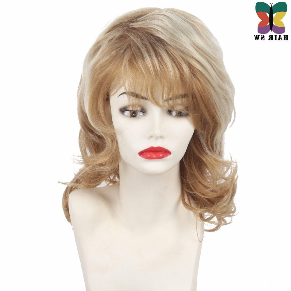 Women Curly Wig Mid Length Shag Layers Natural Hair Wig Synthetic Intended For Most Up To Date Brown Blonde Layers Hairstyles (View 20 of 20)