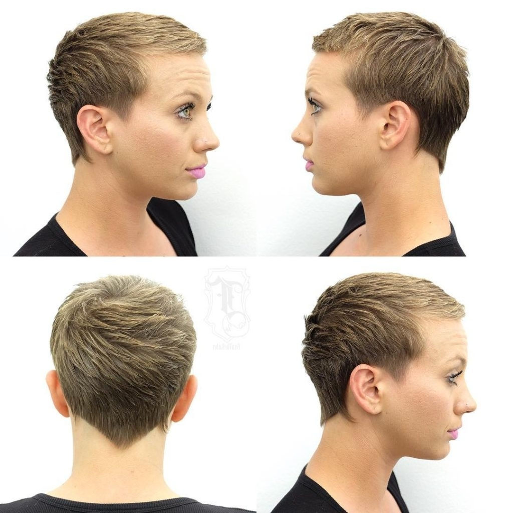 Women's Blonde Textured Pixie Crop With Blunt Nape Lines And Fringe With Most Current Short Silver Crop Blonde Hairstyles (View 20 of 20)