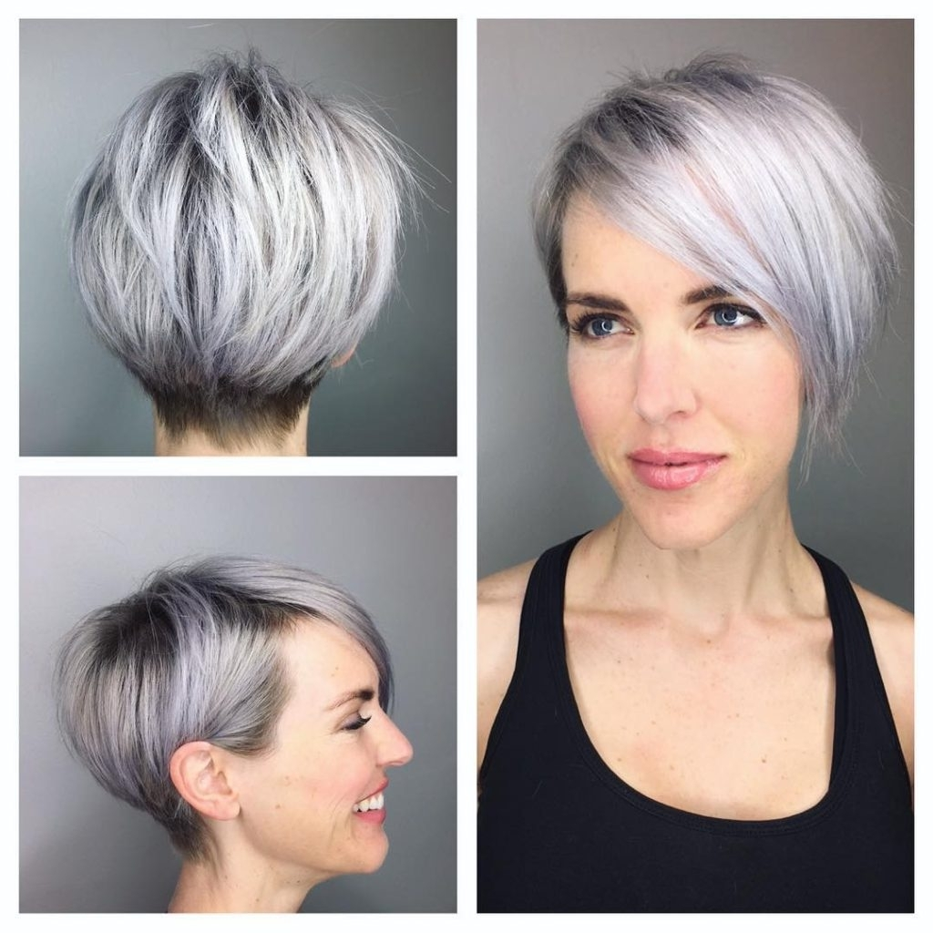 Women's Graduated Silver Textured Pixie With Side Swept Bangs And With Regard To Most Up To Date Side Parted Silver Pixie Bob Hairstyles (View 11 of 20)