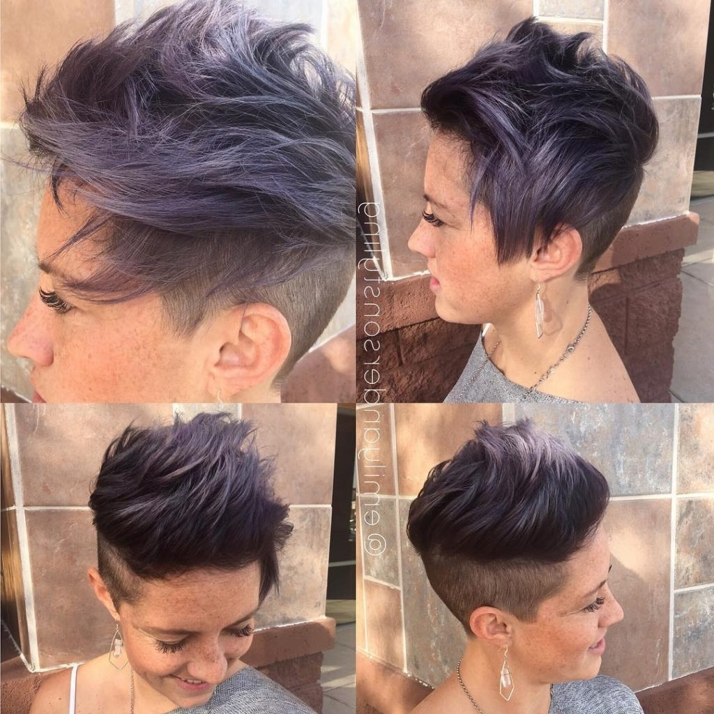 Women's Messy Brushed Up Undercut With Smoky Violet Color Short For Most Recent Tousled Pixie Hairstyles With Undercut (View 20 of 20)