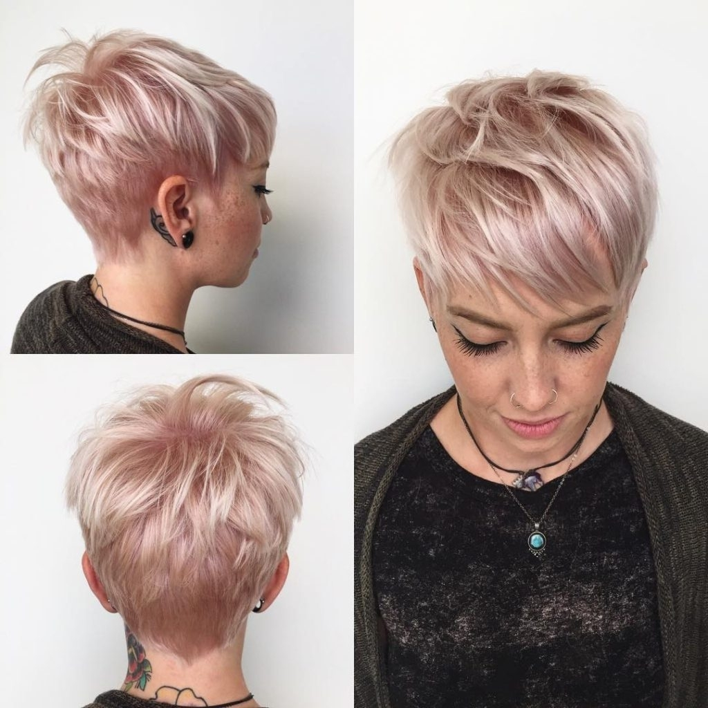 Women's Messy Platinum Textured Pixie With Side Swept Rainbow Within Famous Rose Gold Pixie Hairstyles (View 12 of 20)
