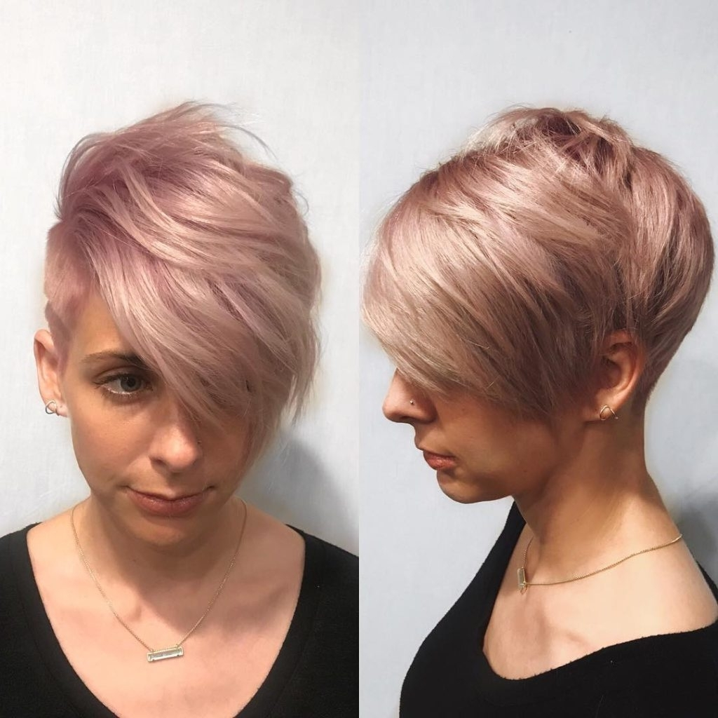 Women's Pink Graduated Pixie With Messy Top Fringe And Undercut Regarding Well Known Rose Gold Pixie Hairstyles (View 14 of 20)