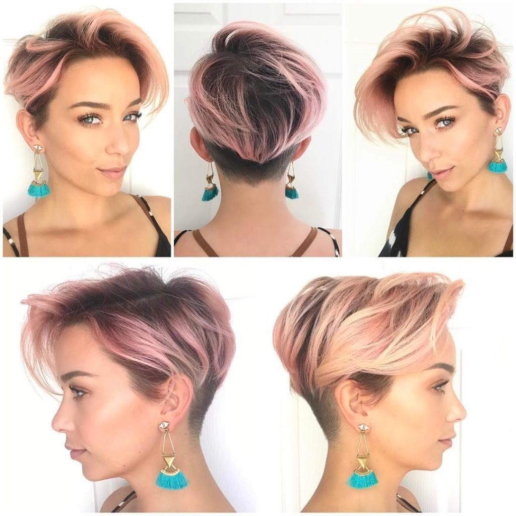 Women's Pink Layered Undercut Pixie Regarding 2017 Pixie Bob Hairstyles With Temple Undercut (View 19 of 20)