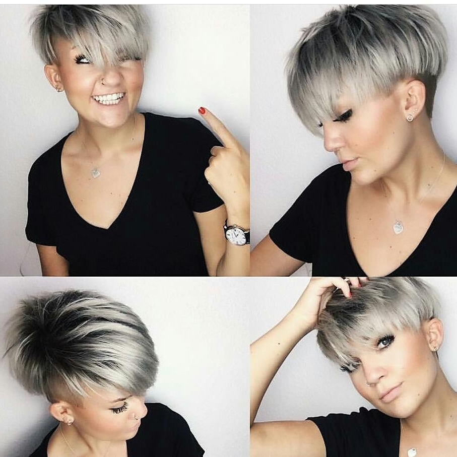 Women's Silver Platinum Bowl Cut Undercut Pixie In Best And Newest Choppy Bowl Cut Pixie Hairstyles (View 2 of 20)