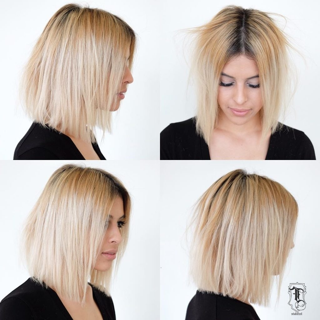 Women's Slightly Disheveled Blunt Shoulder Length Bob On Blonde Hair In Most Up To Date Platinum Blonde Disheveled Pixie Hairstyles (View 20 of 20)