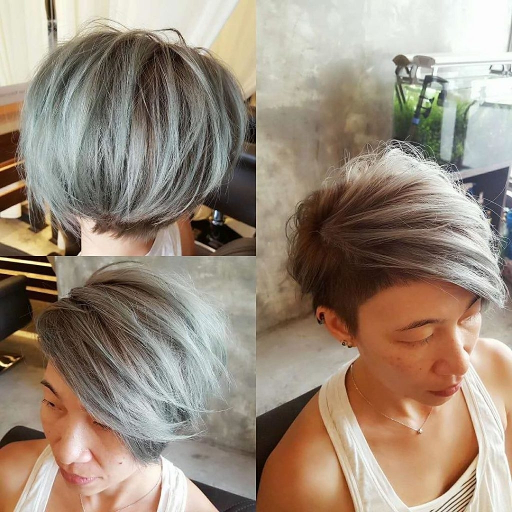 Women's Textured Side Swept Undercut Pixie With Fringe And Silver Color Regarding Widely Used Silver And Brown Pixie Hairstyles (View 20 of 20)