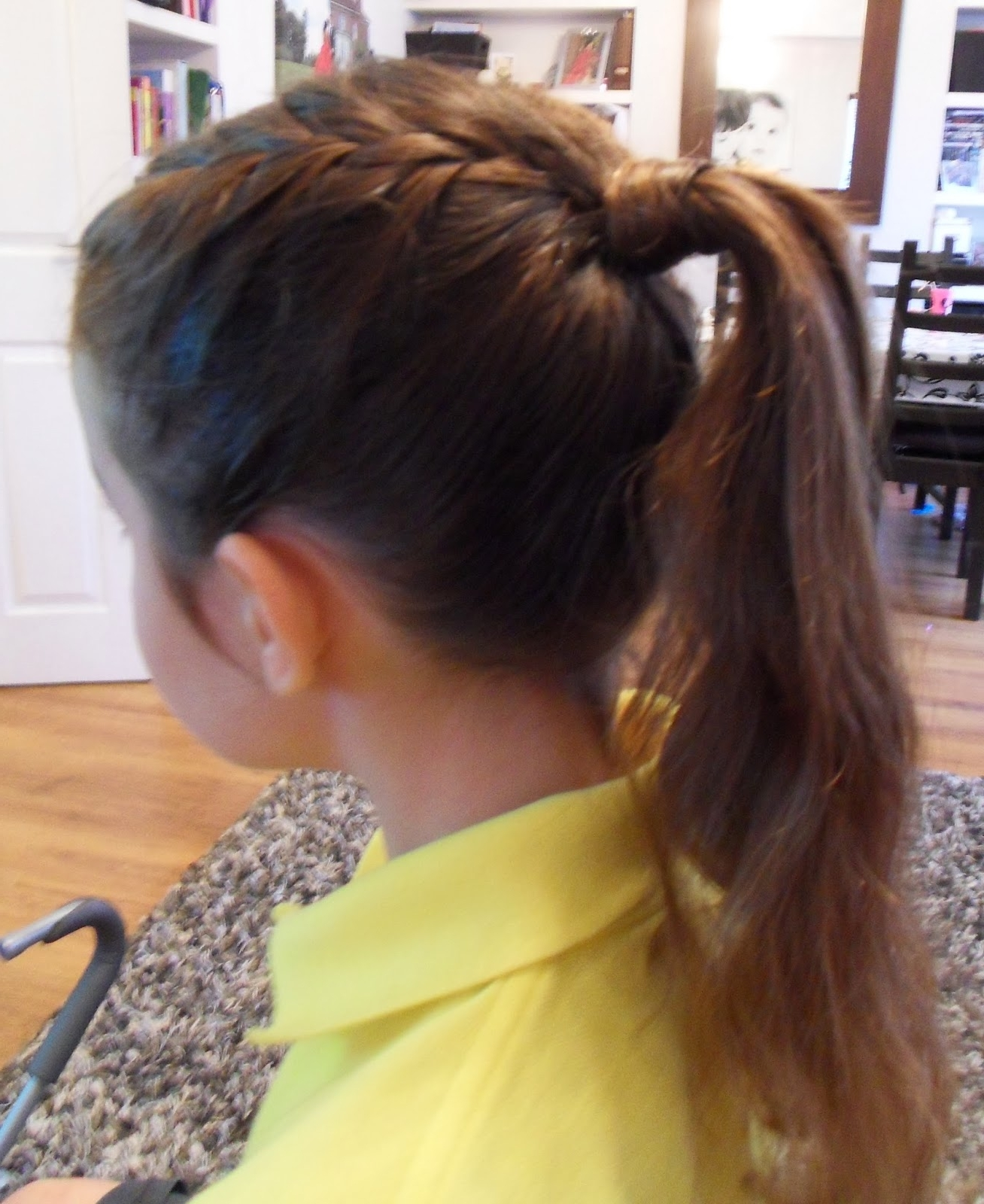 Yummy Mummy Survival: Girls Hairstyles – French Braid Into Pony Tail Regarding Recent Brunette Ponytail Hairstyles With Braided Bangs (Gallery 8 of 20)