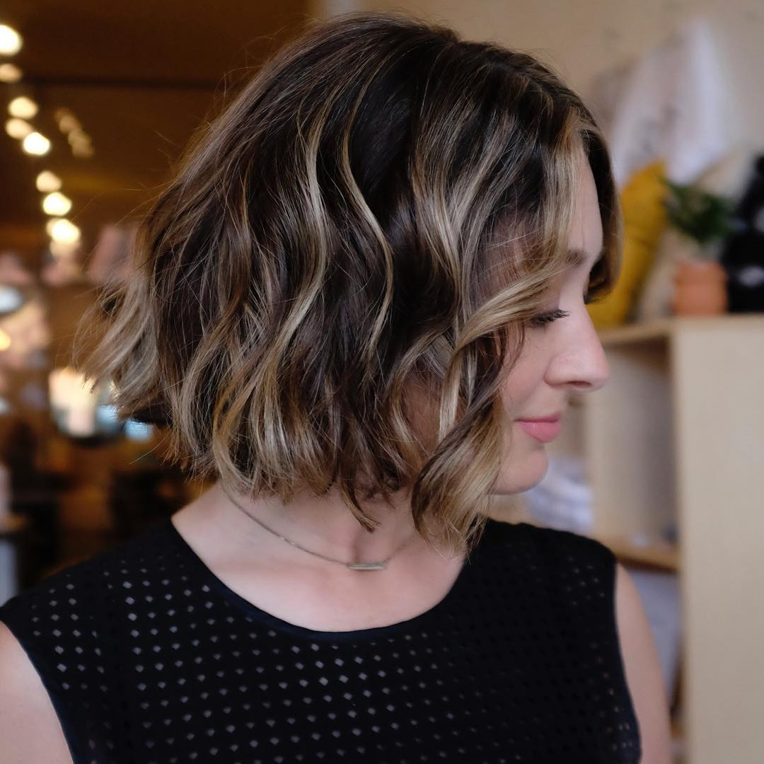 10 Beautiful Medium Bob Haircuts &edgy Looks: Shoulder Length For Nape Length Curly Balayage Bob Hairstyles (View 1 of 20)