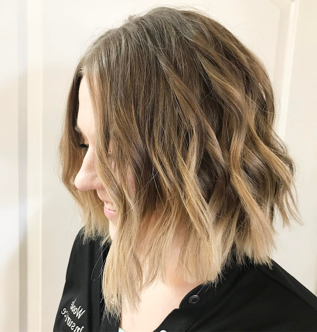 10 Beautiful Medium Bob Haircuts &edgy Looks: Shoulder Length Inside Messy Jaw Length Blonde Balayage Bob Haircuts (View 16 of 20)