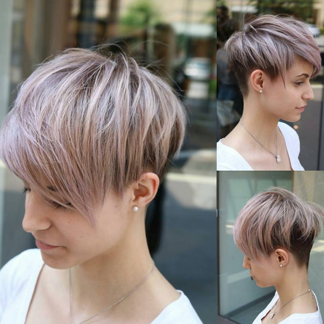 10 Easy Pixie Haircut Styles & Color Ideas, 2018 Women Short Hairstyles Throughout Side Parted White Blonde Pixie Bob Haircuts (View 7 of 20)