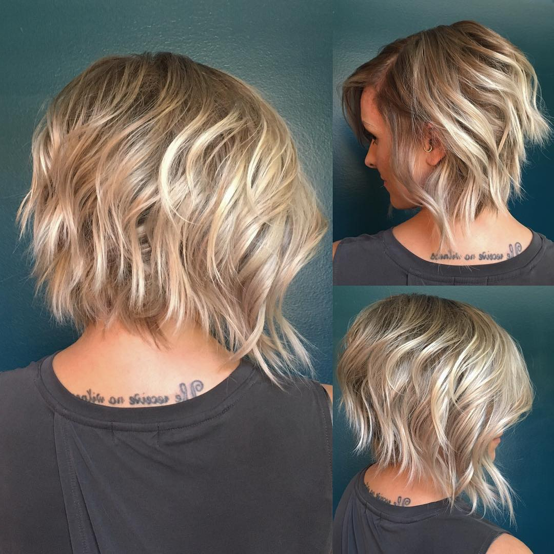 10 Latest Inverted Bob Haircuts 2019 Intended For Messy Jaw Length Blonde Balayage Bob Haircuts (View 10 of 20)