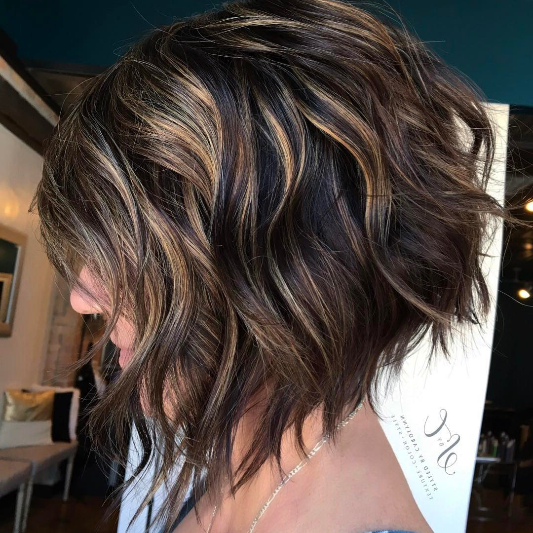 Photo Gallery of Inverted Brunette Bob Hairstyles With Feathered ...