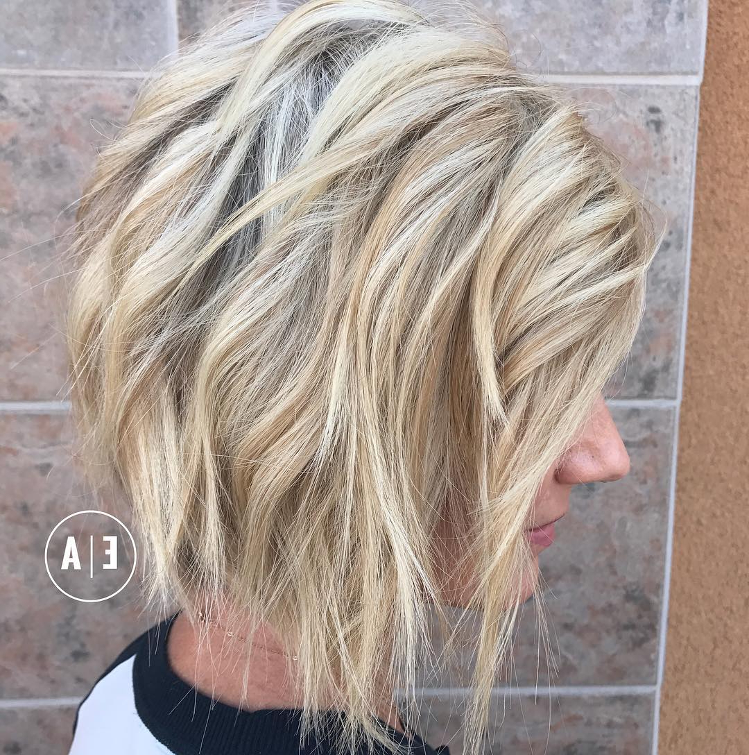 10 Lob Haircut Ideas – Edgy Cuts & Hot New Colors – Popular Haircuts Pertaining To Choppy Brown And Lavender Bob Hairstyles (View 2 of 20)