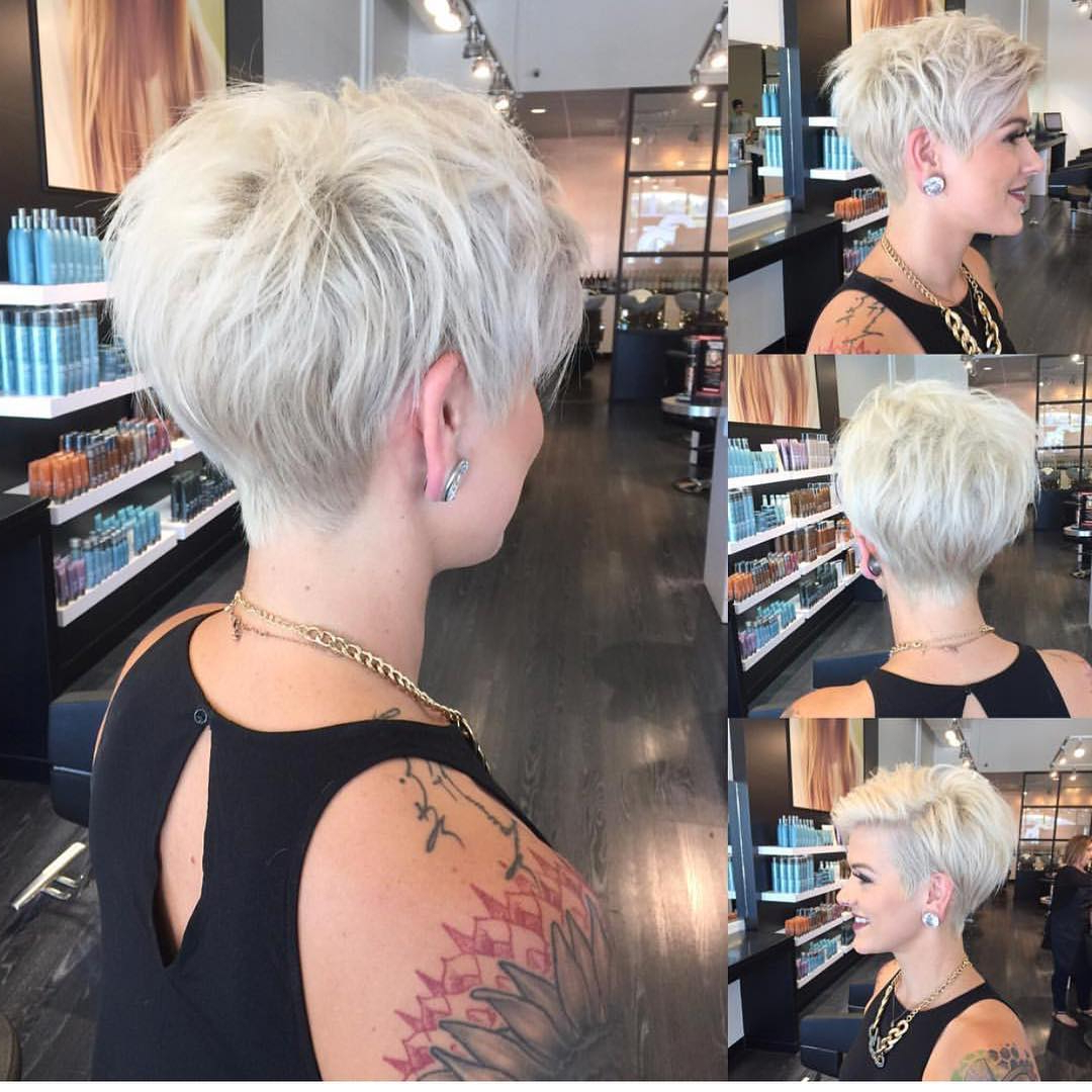 10 Stylish Pixie Haircuts – Women Short Undercut Hairstyles 2018 – 2019 Intended For White Bob Undercut Hairstyles With Root Fade (View 2 of 20)