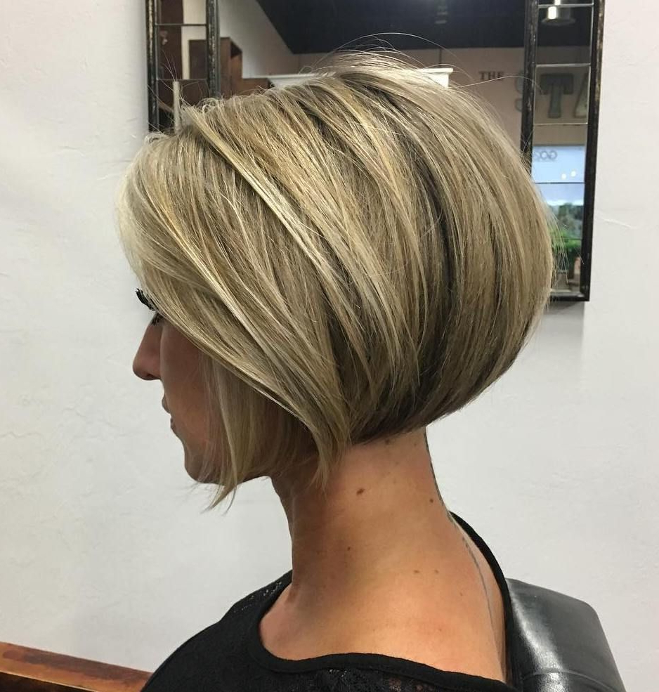 100 Mind Blowing Short Hairstyles For Fine Hair | Frizura With Dark Blonde Rounded Jaw Length Bob Haircuts (View 2 of 20)
